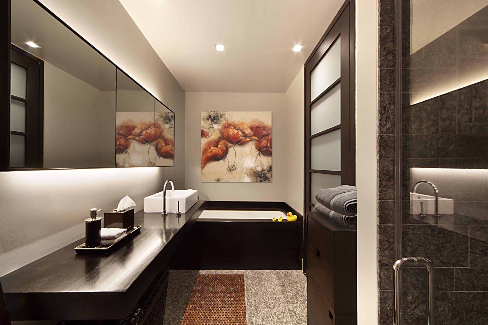 Brown bathrooms