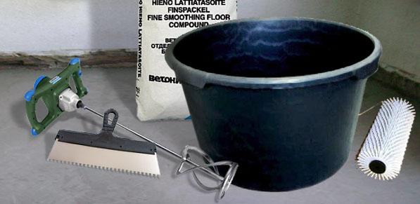 Рабочие инструменты, необходимые для укладки «жидкого линолеума»