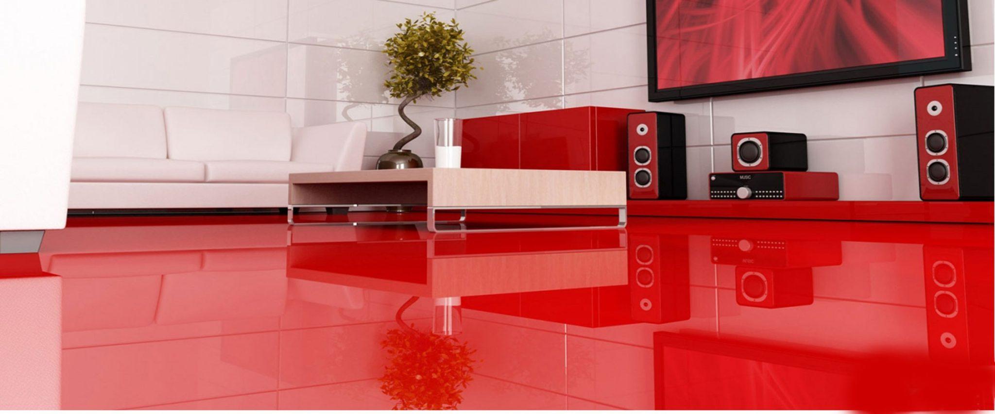 Жидкие напольные покрытия. Красный цвет наливного пола. Фото