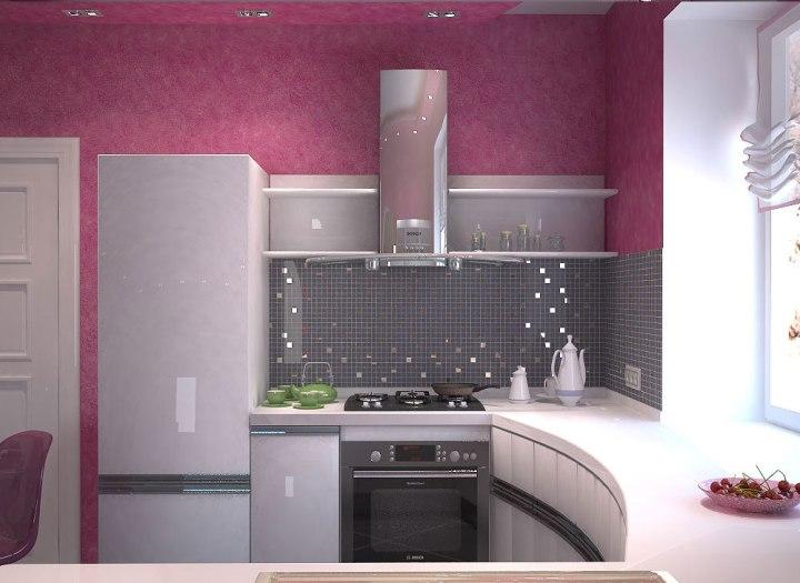Дизайн маленькой кухни. Светло розовая кухня