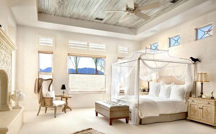 Интерьер современной спальни. Белая спальня