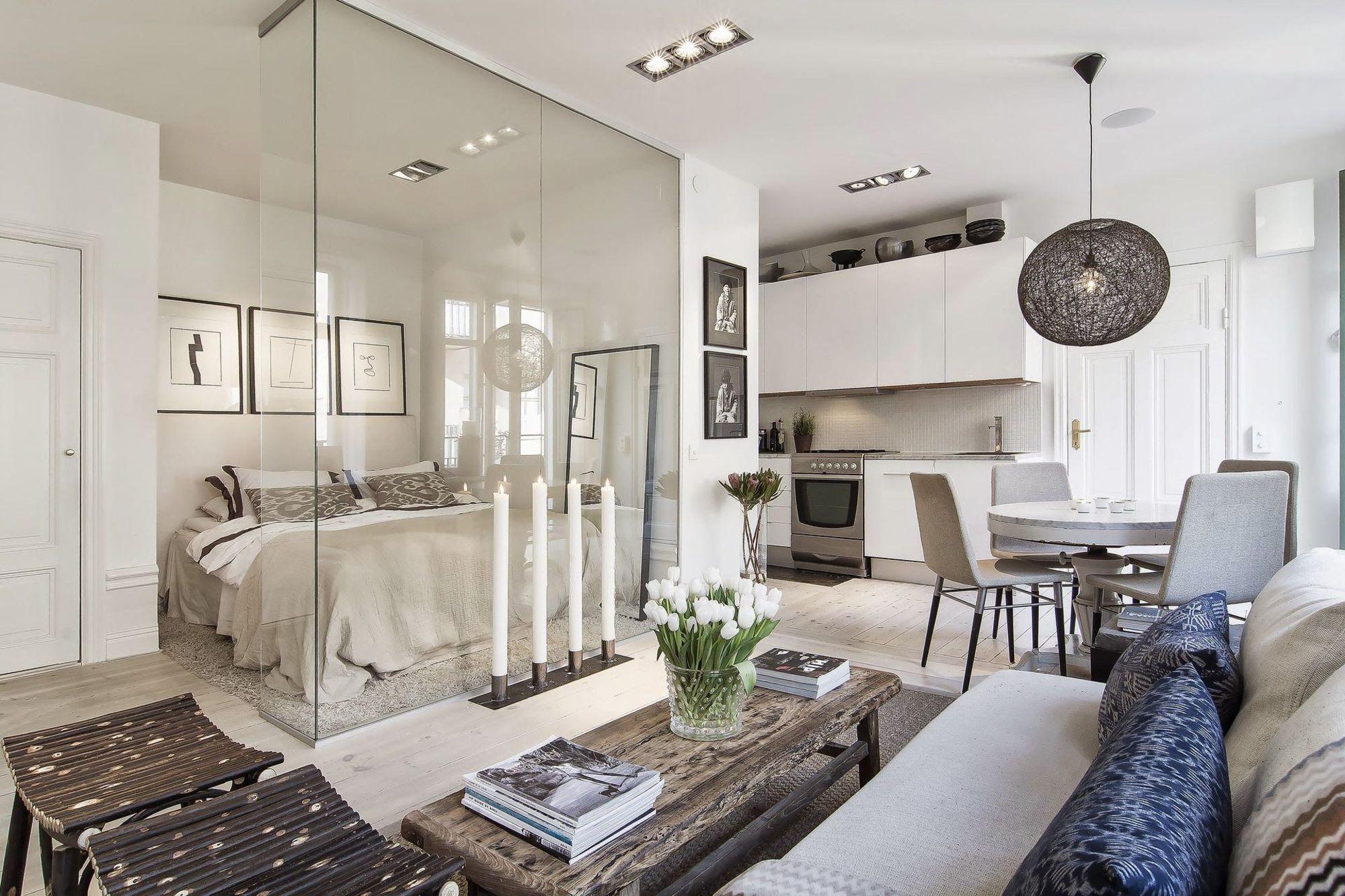 Небольшая квартира с одной комнатой. Дизайн однокомнатной квартиры