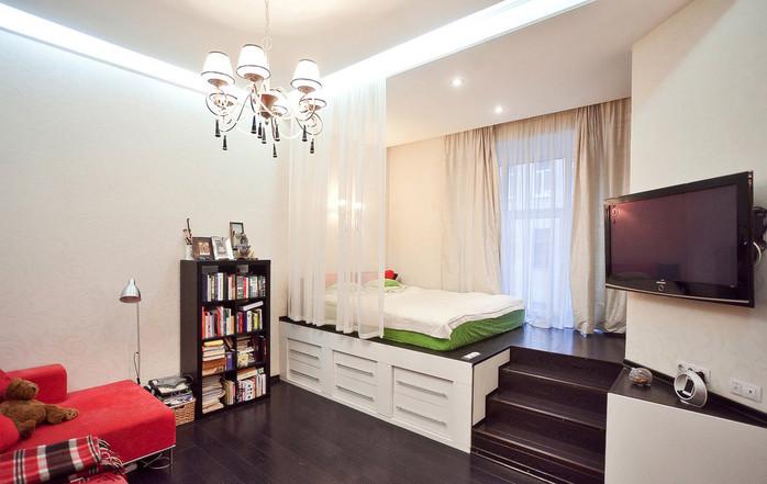Способ выделения спальной зоны. Визуальное увеличение пространства