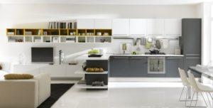 Светлые оттенки серого цвета в интерьере кухни