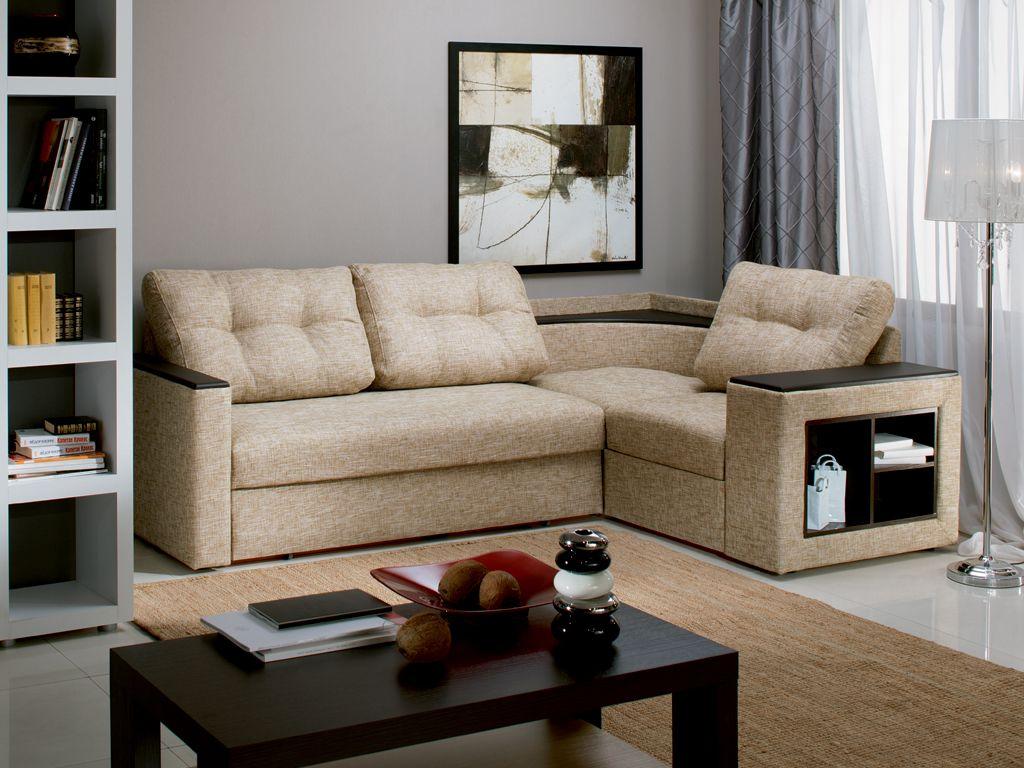 Угловой диван в интерьере спальни