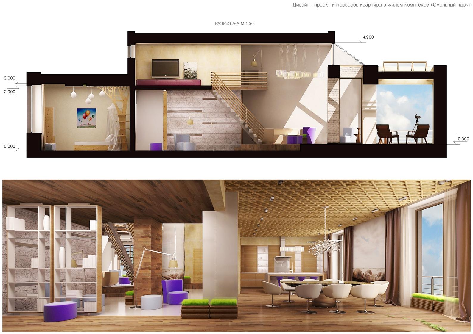 3D разрез дизайна двухуровневой квартиры