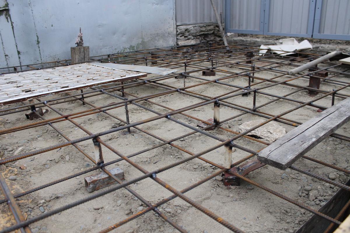 Армирование для последующей заливки бетоном