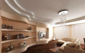 Сочетание потолка из гипсокартона с дизайном комнаты