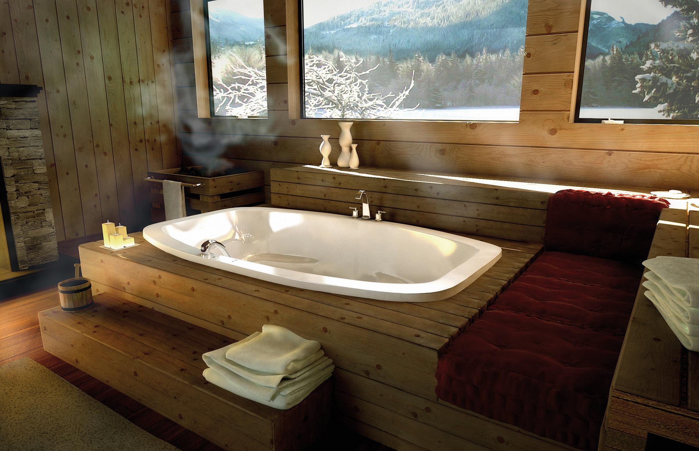 Оригинальный подиум в ванной