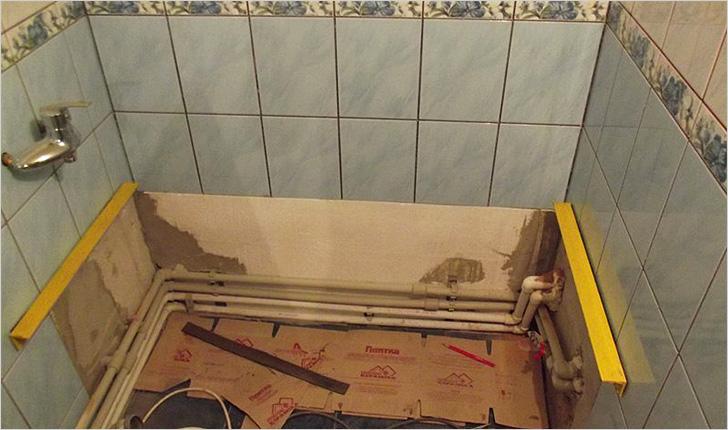 Установка ванны на металлические уголки