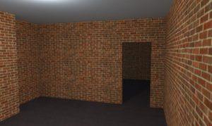 Кирпичная стена с дверным проемом
